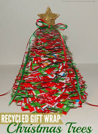 christmas craft recycled gift wrap trees somewhat simple