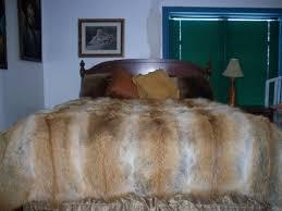 Real Fur Blankets Red Coyote Fur Blanket