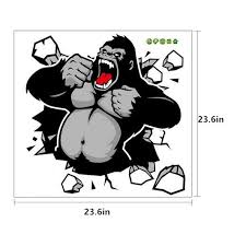3d chimpanzee wall stickers kids bedrooms king kong removable