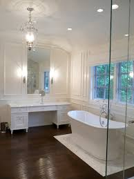Laminate Wood Flooring In Bathroom Endearing Drain Center Freestanding Bathtub In The Corner With