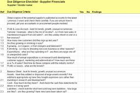due diligence checklist for supplier financials