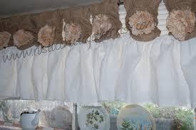 Linen Burlap Curtains White Linen Burlap Valance Curtains Handmade Tea Stain Fabric
