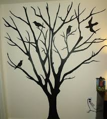 drop dead gorgeous image of black bird tree mural painting ideas drop dead gorgeous image of black bird tree mural painting ideas including cream interior wall paint for home interior decoration design ideas