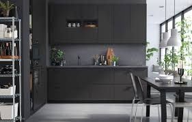 Black Cupboards Kitchen Ideas Ikea Kungsbacka 01 Antracite Grå Kjøkken Kjøkken Pinterest