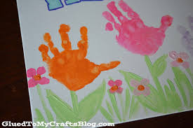handprint spring welcome sign kid craft glued to my crafts
