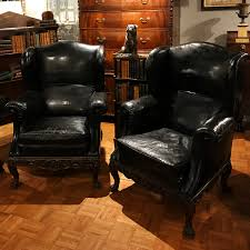 Black Leather Armchairs 3043 Pair Of 19th Century Black Leather Wing Back Armchairs O