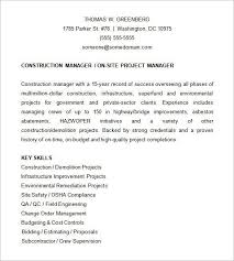 Qa Project Manager Resume Construction Manager Resume Example Sample