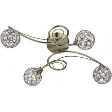 4 Light Semi Flush Ceiling Fixture by Dar Lighting Circa 4 Light Antique Brass Semi Flush Ceiling