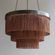 Copper Chandeliers Copper Chain Shallow Chandelier Tigermoth Lighting