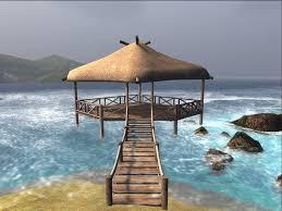 Tiki Hut On Water Vacation Second Life Marketplace Kahakai Lanui 100 Mesh Thatched Beach
