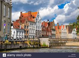 bruges brugge belgium summer scenery with gothic style houses