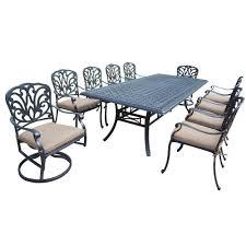 11 Piece Patio Dining Set - sunjoy ruby aluminum 7 piece patio dining set with woven wheat
