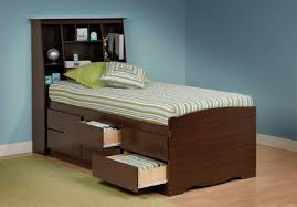 Bed With Storage In Headboard Prepac Tall Captain U0027s Platform Storage Bed W Bookcase Headboard