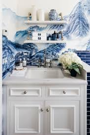 incredible laundry room makeover features hand painted de gournay