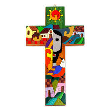 crosses decorative wood and metal crosses at novica pinewood cross custodian of two hearts painted wood wall cross from central