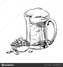 beer in a glass mug and snack peanut nuts hand drawing for
