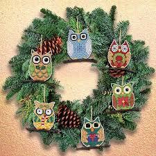 owl ornaments janlynn owl christmas ornaments cross stitch kit 021 1453