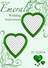 55th wedding anniversary card creator emerald wedding anniversary hearts photo card