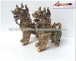 lion foo dog small pair gilt carving glass singha thai lion foo dog statue