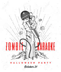 zombie halloween party invitations zombie hand with microphone from ground line art invitation