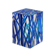 blue branches in acrylic side table contemporary mid century