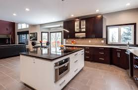 sleek contemporary kitchen renovation flat panel full access cabinets throughout this spectacular renovated kitchen in lakewood colorado give the homeowners more cupboard space than they know