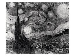 the starry night june 1889 black u0026 white premium giclee print