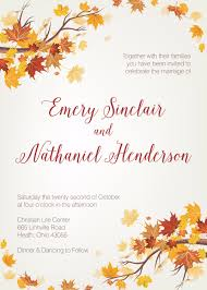 autumn wedding invitations autumn wedding invitation fall wedding invitation september