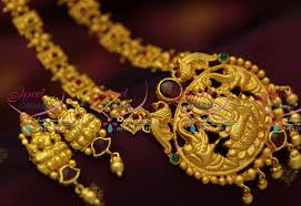 nl4318 temple laxmi god one gram haram south jewellery collections