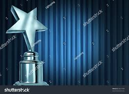 Light Silver Curtains Silver Star Award On Blue Curtains Stock Illustration 96641590