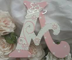 pretty personalised girls princess wooden letter name button art
