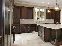 Kitchen Backsplash Dark Cabinets by Dark Cabinets Kitchen White Gloss Island With White Granite Top