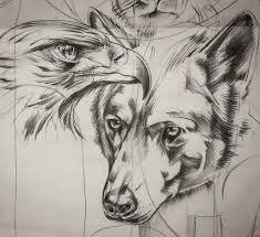 eagle and wolf sketch for by lucianopezzoli on deviantart