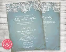 customized wedding programs printable customized wedding program winter vintage lace pale