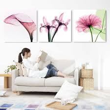 3 piece abstract modern wall painting transparent flowers home
