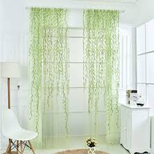 Crushed Voile Sheer Curtains by New Popular Embroidered Design Sheer Curtain Green Leaf White