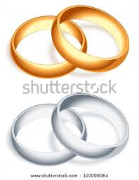and silver wedding wedding rings set gold silver metal stock vector 527009662