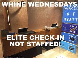 whine wednesdays unstaffed elite check in counters at hotels all