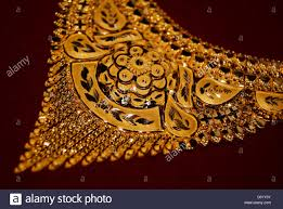 gold jewellery ornaments golden necklace closeup view of