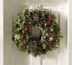 live christmas wreaths live eucalyptus berry wreath pottery barn