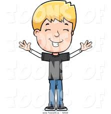 vector of a happy blond white adolescent boy with