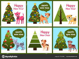 happy new years posters happy new year posters set christmas trees puppies stock vector