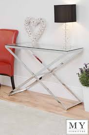 Glass Hallway Table Anikka Modern Chrome And Glass Console Coffee Bedside Side L