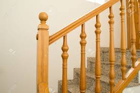 Wooden Banister Wooden Railing Installed In A Staircase Stock Photo Picture And
