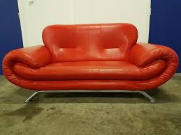 Red Leather 2 Seater Sofa Modern Red Leather Designer Sofa With Chrome Legs 2 Seater Sofa