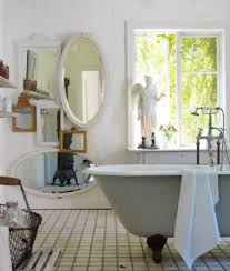 welcoming shabby chic bathroom with climbing plant also distressed