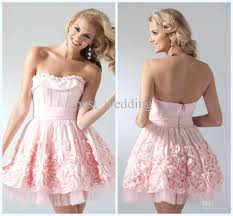 what to wear with a light pink dress lovely beautiful handmade flowers strapless ruffle light pink mini
