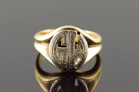 Monogram Gold Ring 14k G M Gm Initial Monogram Letter Cut Out Vintage Yellow Gold