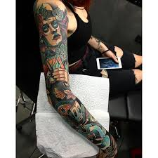 neotraditional color sleeve from aber neotraditional