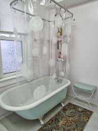 plastic shower curtain with pockets for small vintage bathroom